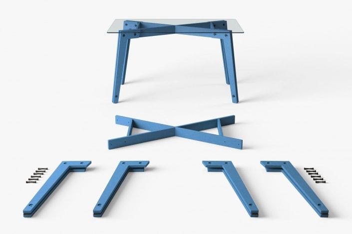 muesiemue universal tisch design jakob hohmann, Darstellung der vormontierten Teile und eines Tisches mit Glasplatte