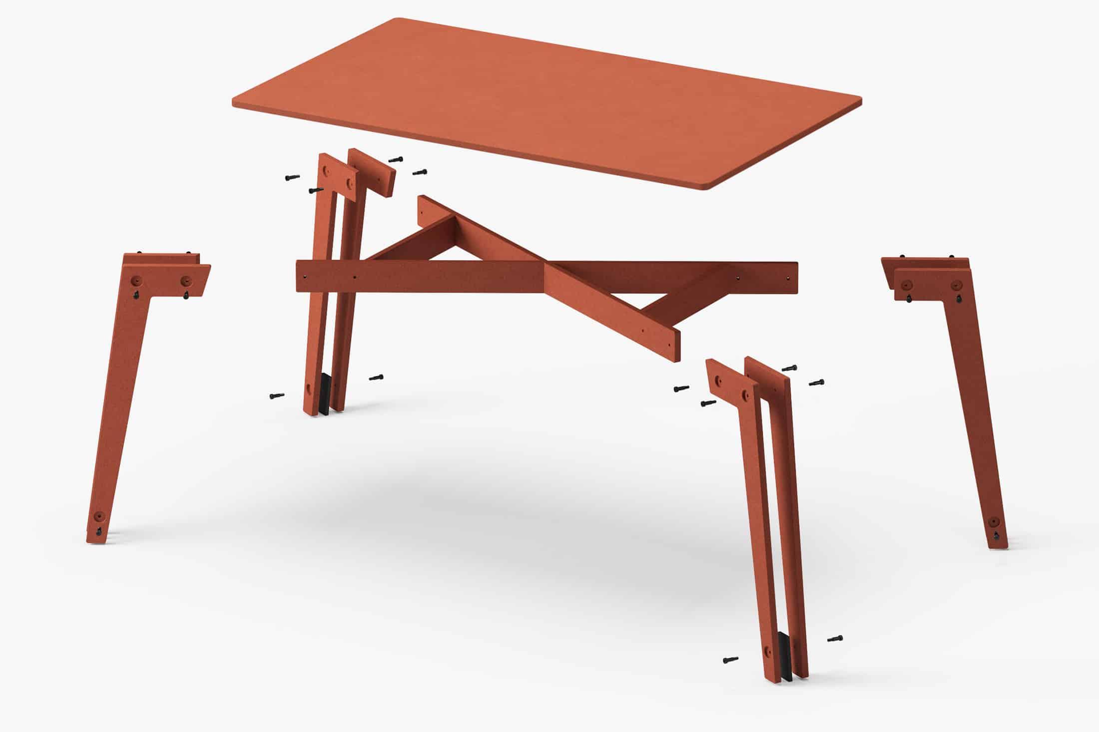 muesiemue universal tisch design jakob hohmann, Explosionsdarstellung aller Einzelteile des Tisches
