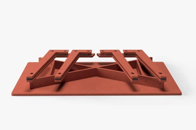 muesiemue universal tisch design jakob hohmann, Darstellung der vormontierten Teile aus der Verpackung