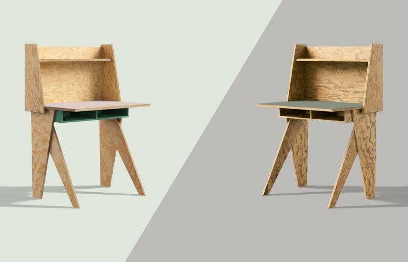 muesiemue Home Office und Home Schooling Tisch von Tonia Welter, Tisch und Raumteiler elegant und kompakt vereint, in Seekiefer